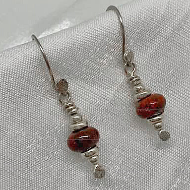 Sterling Silver and Red Jasper Earrings