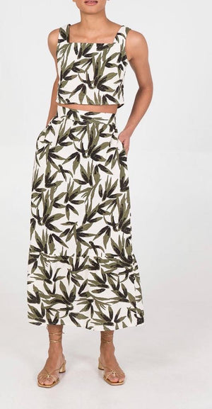 Leaf Print Maxi Skirt and Top