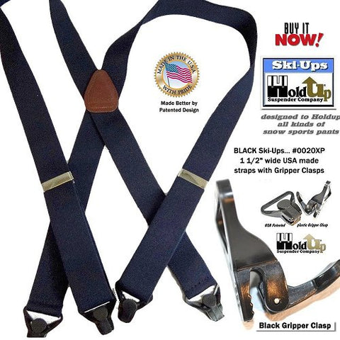 USA made Black Ski-Ups Holdup snow sports X-back suspenders with strong black gripper clasps