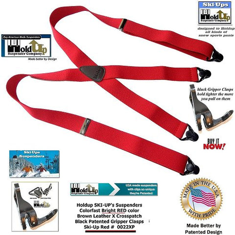 Holdup SKI-UPs in Red are the perfect suspender for all snow sports as they Holdup even Gore-Tex pants and jeans while on the slopes or out snowboarding