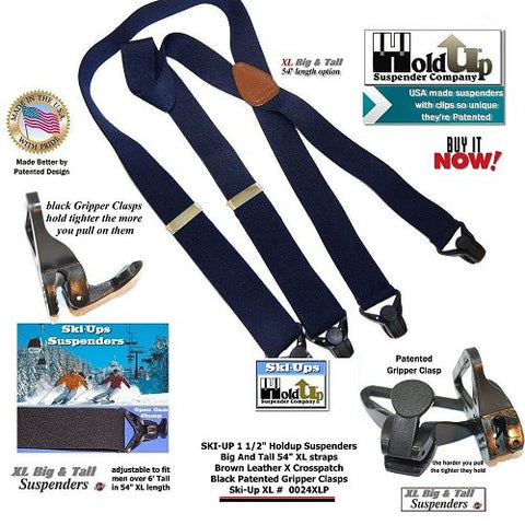 XL Big and Tall version of the Black Holdup Ski-Ups snow sports suspenders for the bigger guy on the Ski Slopes
