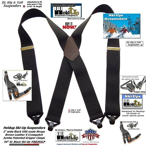 """USA made Holdup Black 2"""" wide SKI-Ups with jumbo gripper clasps and brown leather X-back crosspatch embossed with Holdup logo"""