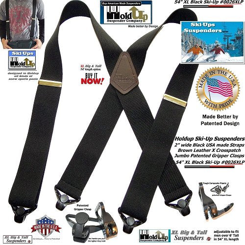 """Holdup Black 2"""" wide SKI-Ups with jumbo gripper clasps and brown leather X-back crosspatch embossed with Holdup logo"""