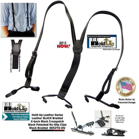 Black braided Leather Holdup dual clip Double-Up styles dressy suspenders look great at the office or out partying on the town