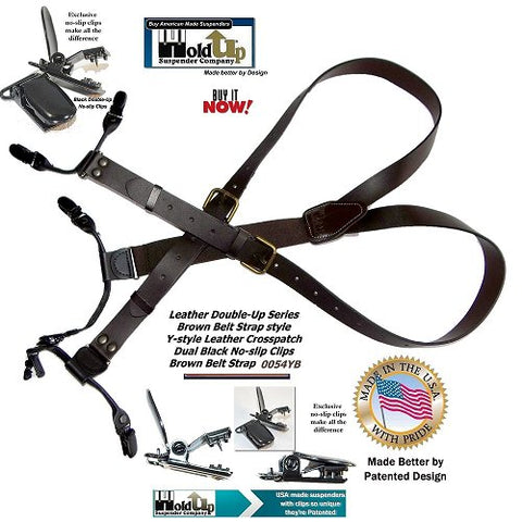 "HoldUp Brand Brown Bonded 3/4"" Leather Belt Strap Y-back Suspenders with black No-slip Clips"