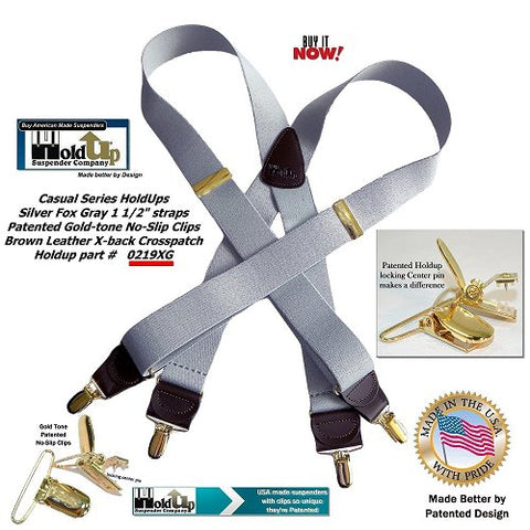 Holdup Brand Silver Fox Light Gray X-back Suspenders with Patented Gold-tone no-slip Clips