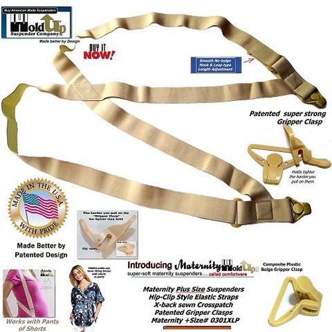 Plus Sized Holdup Maternity clip-on suspenders worn under any loose fitting blouse with shorts or maternity pants