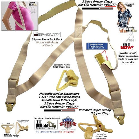 Maternity hidden side-clip suspenders with patented Gripper clasp and they're made in the USA