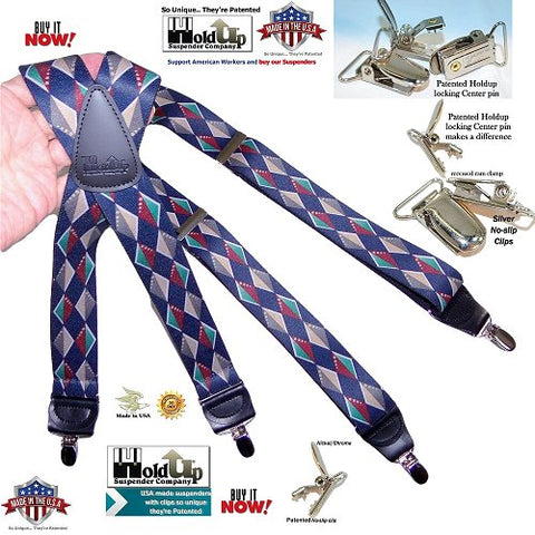 Designer series Holdup diamondback pattern X-back Holdup Suspenders with patented clips