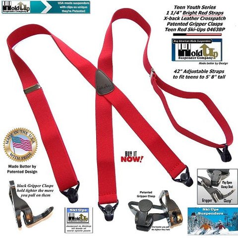 Red teenager Holdup X-back Ski suspenders with Patented gripper clasps made for wearing at outdoor activities