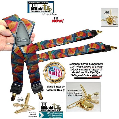 USA made Designer Series Collage pattern X-back suspenders with Gold tone no-slip clips