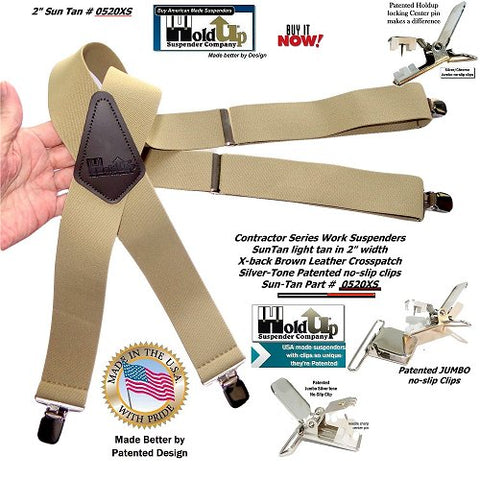 Extra long tan wide Holdup brand work suspenders in XL big and tall length and jumbo silver no-slip clips