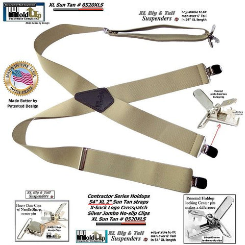 Holdup XL Big and Tall Sun-Tan X-back wide work Suspenders and No-slip Jumbo Silver Clips