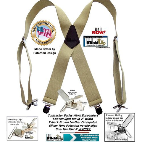 Contractor Series Sun Tan color wide Holdup work Suspenders with patented jumbo no-slip center pin clips