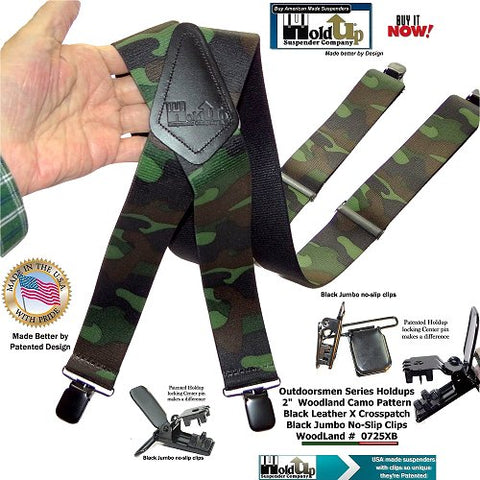 Woodland Camouflage Pattern hunting X-back suspenders with US patented Jumbo clips
