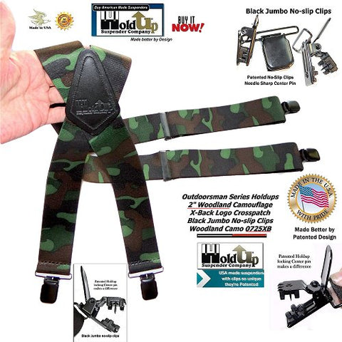 "You'll love these or we'll give gladly refund your money.    2"" wide printed elastic fabric with genuine black Leather Crosspatch embossed with Holdup trademarked logo so you know your buying real Holdups. Durable hand washable Cotton poly-blend elastic colorfast straps with patented no-slip Jumbo no-slip center pin type clip make these the best hunting suspender sold on the internet. Popular Woodlands camouflage pattern with black clips and black leather crosspatch make these look good at work or when out hunting. Genuine top grade black leather X-back logo embossed crosspatch and come with black metal strap length adjuster so they can comfortably fit larger men to 6 feet tall."