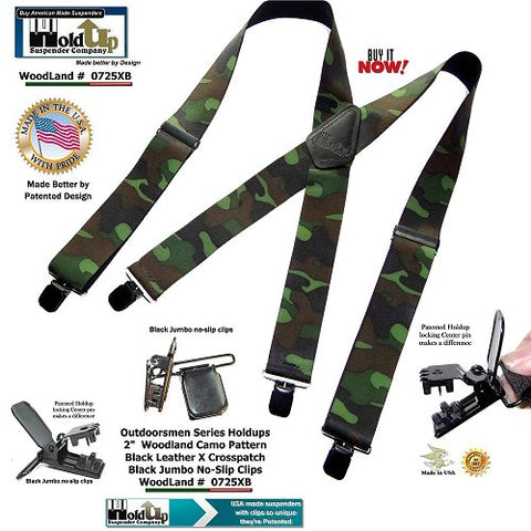 Holdup Suspenders wide Woodland pattern camouflage hunting suspenders with patented jumbo no-slip clips