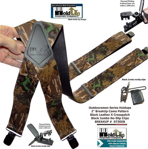 Camouflage Breakup pattern hunting x-back suspenders form Holdup Suspender Company with patented jumbo no-slip center pin type clips