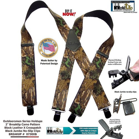 Breakup camouflage pattern Holdup heavy duty hunting and work suspenders with Patented Jumbo black no-slip clips