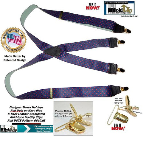 Holdup Designer Series Red DOTS on navy Blue pattern X-back Suspenders made in the USA
