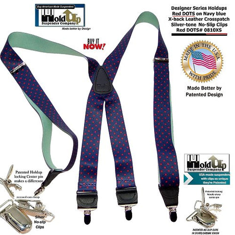HoldUp Brand Blue with Red Dot Pattern X-back Designer Suspenders with Patented No-slip Silver-tone Clips