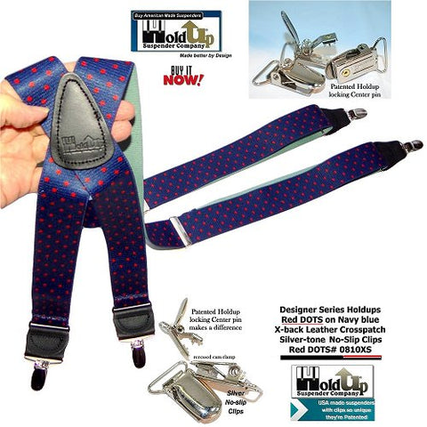 Holdup Designer Series Blue with Red Dot Pattern X-back Suspenders with Silver-tone No-slip Clips and they're made in the USA.