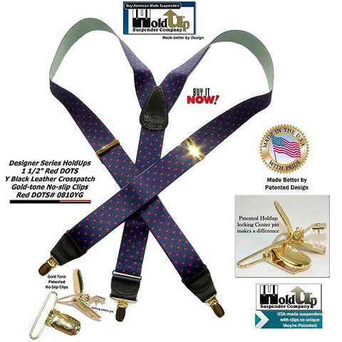 "Navy blue with red polka dot pattern Holdup Suspenders with 1 1/2"" wide straps and gold-tone no-slip clips"