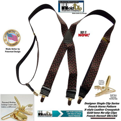Designer Series Holdup X-back suspenders in Tasteful French Horns pattern with patented Gold-tone no-slip center pin type clips