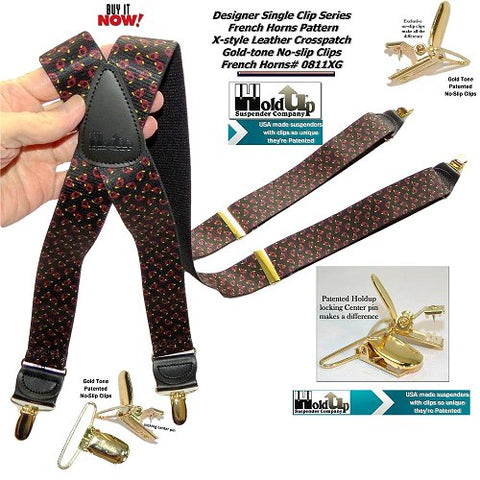 "HoldUp Brand French Horn Pattern 1 1/2"" X-back Designer Series Suspenders with No-slip Gold-tone Clips"