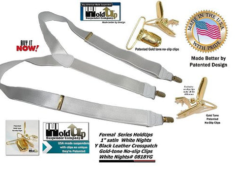 "HoldUp Brand Formal 1"" wide White Nights Satin Finish Y-back Suspenders gold tone no-slip patented clips"