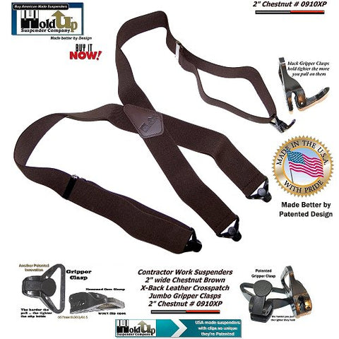 Contractor Series Holdup Chestnut dark brown X-back work suspenders with jumbo Gripper Clasps