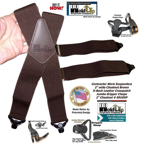 Holdup Chestnut Brown Holdup Work X-back Suspenders with Patented Gripper Clasps