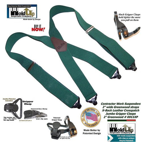 Greenwood Holdup Contractor Series wide work suspenders with Gripper clasp option are made in the USA.