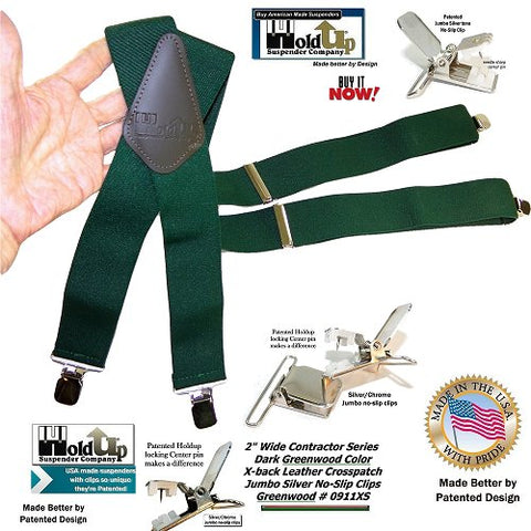 Dark Green X-back wide work suspenders with jumbo silver-tone no-slips clips and they're made in the USA