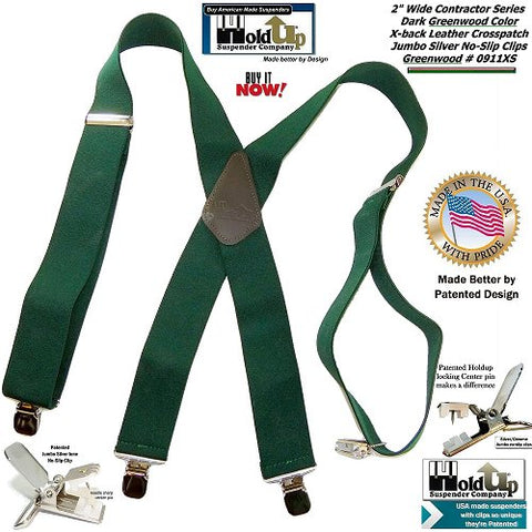 USA made HoldUp brand Heavy Duty Greenwood Green Work Suspenders with patented No-slip center pin clips