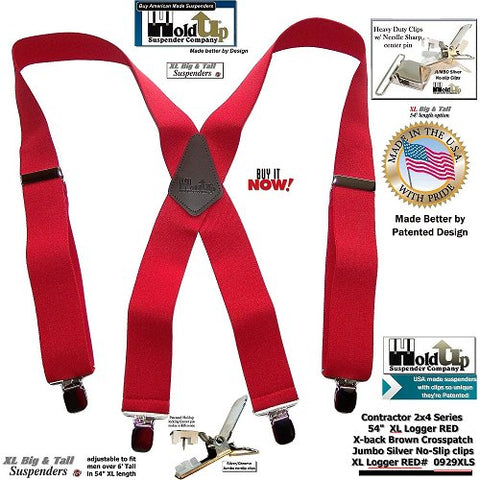 working man's bright red XL heavy duty clip-on USA made X-back suspender for the Big and Tall man