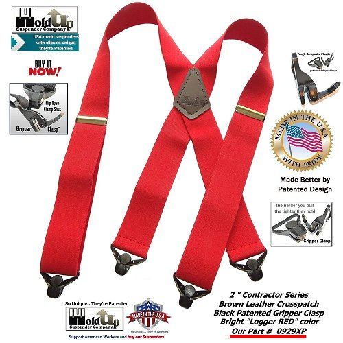 Contractor Series Logger Red Holdup wide work suspenders with patented Jumbo No-slip Gripper Clasps and they're made in the USA.