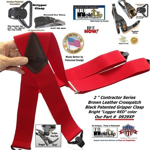 "Red Heavy Duty 2"" wide Ski-Up X-back Jumbo Gripper clasp Holdup suspenders"