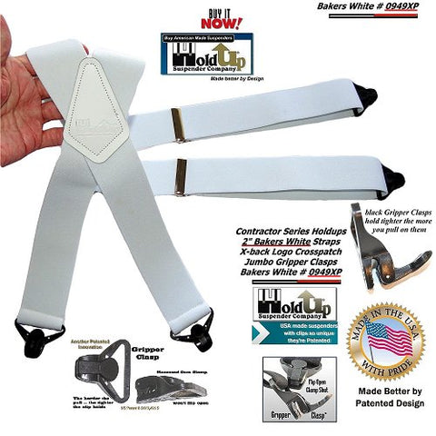 Contractor Series Holdup X-baxk white work suspenders with white leather Crosspatch embossed with Holdup Logo and Gripper clasps