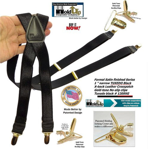 "Holdup Suspender Company Tuxedo Black Formal Series 1"" wide Satin Finish X-back Suspenders with Patented No-slip Gold-tone clips"