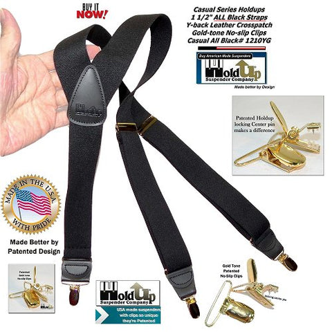 Holdup USA made all black Y-back men's clip-on suspnders with gold-tone patented no-slip center pin type clips