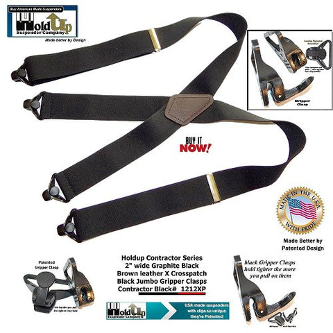 USA made Graphite BLACK color Contractor Series suspenders with Plastic Gripper Clasps and brown leather logo embossed crosspatch