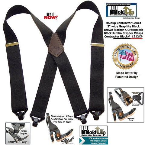 USA made Graphite BLACK color Contractor Series suspenders with Plastic Gripper Clasps and brown leather crosspatch