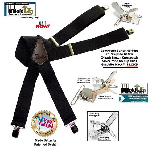 "USA made Black 2"" wide work X-back suspenders with jumbo Silver No-slip center pin type clips"