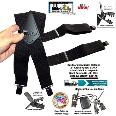 Outdoorsman series Black Holdup work suspenders with black leather X-back crosspatch and black jumbo no-slip clips.