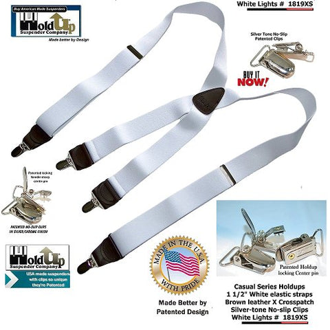 White Lightning color Casual Series Holdup suspenders with X-back genuine brown leather crosspatch