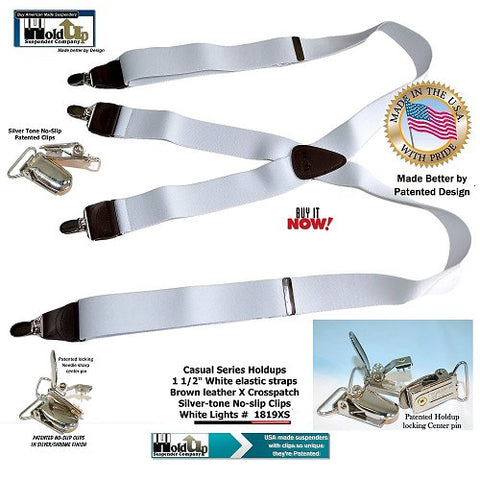 White Lightning color Casual Series Holdup suspenders with X-back genuine brown leather crosspatch and silver-tone no-slip center pin clips