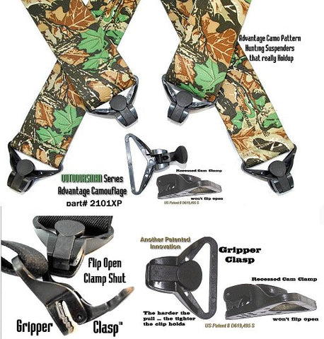 Outdoorsman Series Advantage Camo pattern X-back hunting suspenders with Jumbo strong Gripper clasps