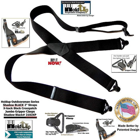 Outdoorsmen Series Shadow BLACK X-back wide work suspenders with patented jumbo no-slip clasps