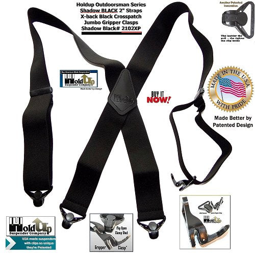 Outdoorsman Series Shadow Black X-back heavy duty Holdup Suspenders with Jumbo Gripper Clasps